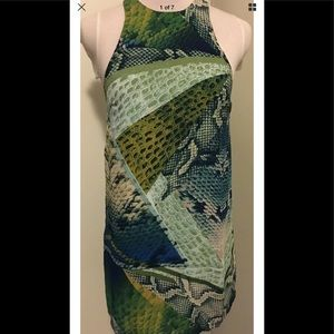Olivaceous Green Blue Snakeskin Tank Dress Small S